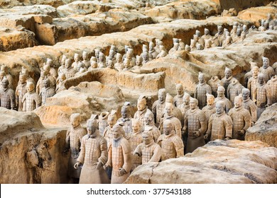 XI'AN, SHAANXI PROVINCE, CHINA - OCTOBER 28, 2015: View of the famous Terracotta Army at excavation pit in the Qin Shi Huang Mausoleum of the First Emperor of China.