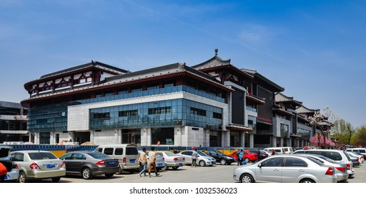 Xian, Shaanxi/China - Apr. 7, 2012: A view in modern day historical ancient city of Xian, Shaanxi, China.