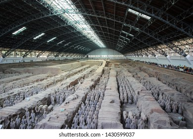 Xian, Shannxi, China - 2019-04-17: The Terracotta Army inside a pavilion depicting the armies of Qin Shi Huang, China's first emeror. near Xi'an China, a Unesco World Heritage Site