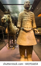 XIAN, SHANXI/CHINA-MAY 16: Emper Qin's Terra-cotta warriors and horses Museum on May 16, 2016 in Xian, Shanxi, China. The picture shows  cavalry.