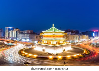 Xi'an , the starting point of the ancient silk road, beautiful bell tower at night
