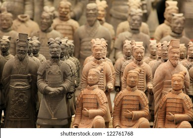 "XIAN,CHINA -JUNE 13 :The Terracotta Army or the ""Terra Cotta Warriors and Horses"" buried in the pits next to the Qin Shi Huang's tomb in 210-209 BC. June 13, 2012 in Xian of Shaanxi Province, China"