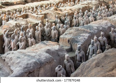 XIAN,CHINA OCT 23:The Terracotta Army or the Terra Cotta Warriors and Horses buried in the pits next to the Qin Shi Huang's tomb in 210-209 BC on October 23, 2013 in Xian of Shaanxi Province, China.