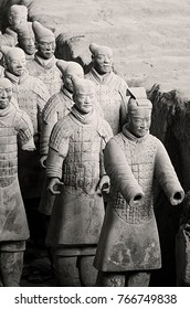 Xian,China - October 21,2017: The archaeological remains of the warriors of Xian are visited by thousands of people daily on October 21, China.