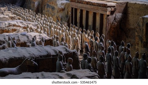 Xi'an,China--OCT 2016--clay soldiers stand ready for battle in pit NO.1 at the museum of Qin Terracotta Warriors and Horses