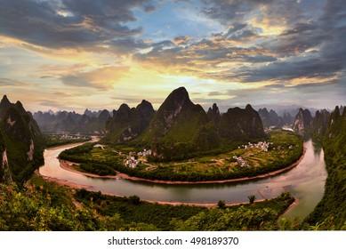 Xianggong hill landscape of Guilin, Li River and Karst mountains. Xingping, Yangshuo County, Guangxi Province, China