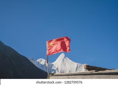 Xianoduoji Peak and China Flag, Yading Natural Reserve, Daocheng, Sichuan - China