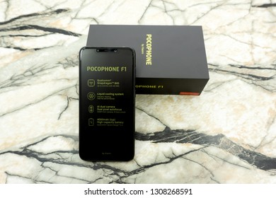The Xiaomi Pocophone F1 has a large 6.18-inch IPS display, a Qualcomm Snapdragon 845 SoC and 6 GB of RAM.Russia Berezniki November 17, 2018 .