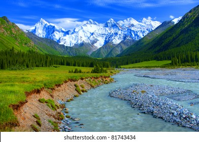 Xiata Valley with Tianshan Range in the Background, Ili, Xinjiang