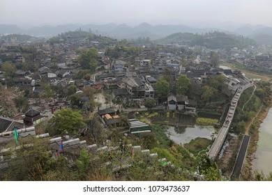 Xijiang, China - March 25, 2018: Panoramic view of Qingyan ancient town in Guizhou, China