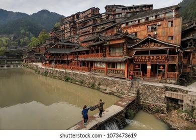 Xijiang, China - March 26, 2018: Panoramic view of the Xijiang Miao Nationality village in Guizhou