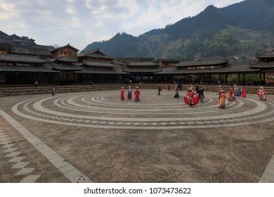 Xijiang, China - March 26, 2018: Main square at the Xijiang Miao Nationality village in Guizhou