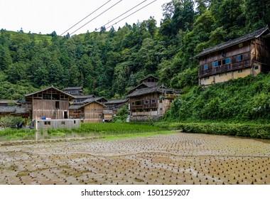 Xijiang, Qiandongnan Miao and Dong Autonomous Prefecture, Guizhou Province, China - August 2019 : exploring the traditional Miao village of  Getou