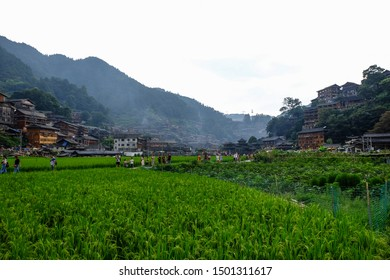 Xijiang Qianhu, Qiandongnan Miao and Dong Autonomous Prefecture, Guizhou Province, China - August 2019 : view of Xijiang Miao Village