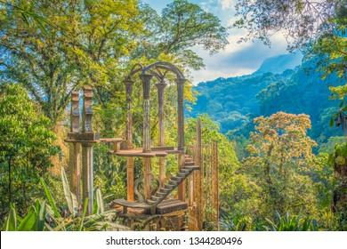 Xilitla Jungle and amazing hidden castle at Huasteca Potosina in San Luis Potosi, Mexico