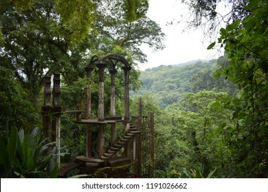 In Xilitla, San Luis Potosí, in a subtropical rainforest in the mountains of Mexico, is a garden created by Edward James. It includes  natural waterfalls and pools with towering Surrealist sculptures.