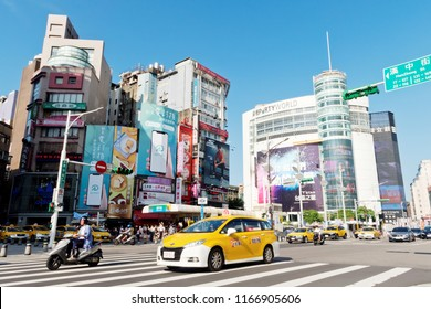 Ximending, Taiwan - August 06, 2018 : Street view in Taiwan.  Ximending is a neighborhood and shopping district in the Wanhua District of Taipei