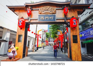 Ximending, Taiwan-May 15, 2019 : Street view in Taiwan. Ximending is a neighborhood and shopping district in the Wanhua District of Taipei, The area is very popular with tourists and Taiwanese youth.