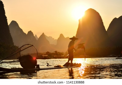 Xing Ping / china - September 2011: Fishing with cormorants in the village of Xing Ping on Lijiang river. Yangshuo province.