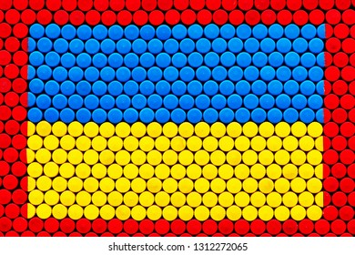 Xing yellow Texture, background from cork of plastic bottles.Blue and yellow colors. Copyspace
