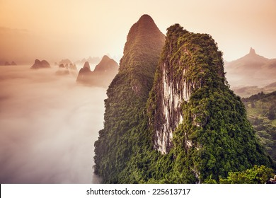 Xingping, Guilin, China karst mountains landscape.