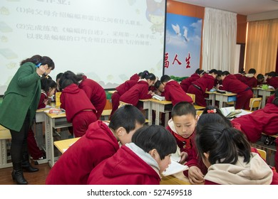 XINGTAI CITY, CHINA - March 2016: 2016 On March 17, teachers and students in the classroom to study seriously. They are experimenting with new curriculum reform,vivid and lively.