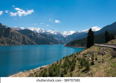 XINJIANG, CHINA - May 09 2015: Heaven Lake of Tian Shan(Tianchi). a famous World Heritage site in Fukang, Changji, Xinjiang, China.