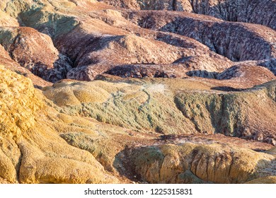 xinjiang colorful beach landform closeup, natural background texture of wind erosion and water erosion and leaching