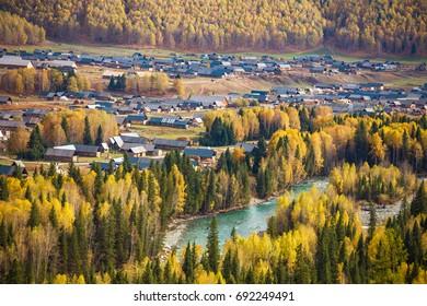 Xinjiang Hemu Village Autumn scenery