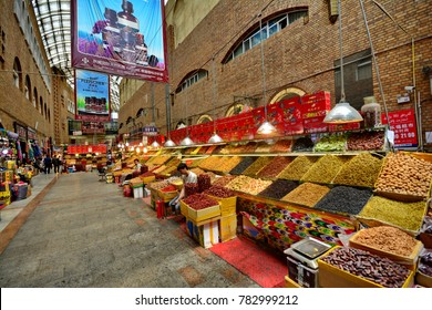 Xinjiang international grand bazaar-June 1,2017 : tea, spices,nut and souvenir sale in islamic bazaar Urumqi,Xinjiang.