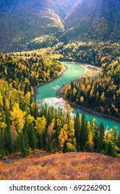Xinjiang Kanas Moon Bay Autumn