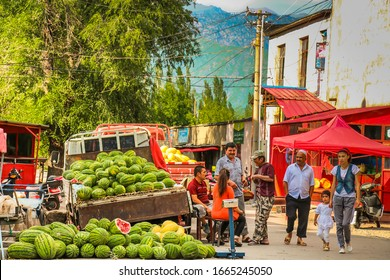Xinjiang Province, China - 13th July 2014: A truck load of watermelons sold at the road side in Xinjiang Province