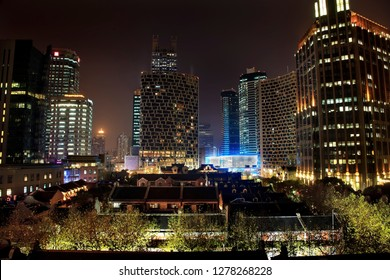 Xintiandi Old Chinese Houses High Rises Luwan Shanghai, China at Night