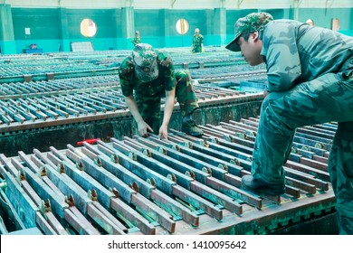 Xinyu, China - April 16, 2014: the workshop of a Rare Earth production enterprise in jiangxi province, central China. China is the largest source of rare earth imports to the United States.