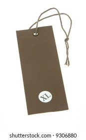 XL size tag with copy space on white background