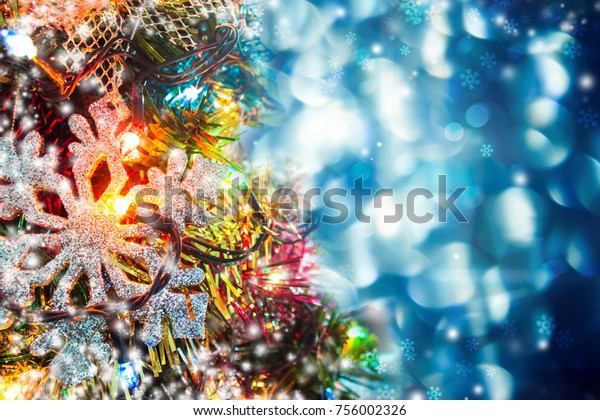 Xmas Background Colorful Christmas Tree Ornaments Stock