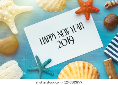 xmas card happy new year 2019 sea travel concept background