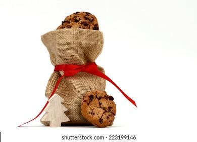 xmas cookies in santa bag