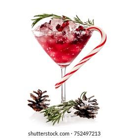 Xmas cranberry martini cocktail