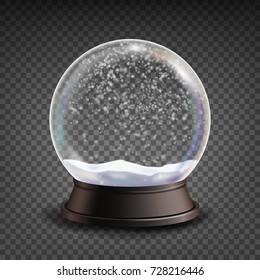 Xmas Empty Snow Globe. Winter Christmas Design Element.Glass Sphere On A Stand. Isolated On Transparent Background Illustration