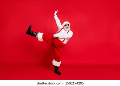 X-mas newyear time concept. Photo of overweight with round belly fatty nice positive emotional modern screaming shout singing carols grandfather moving legs hand in air isolated bright background