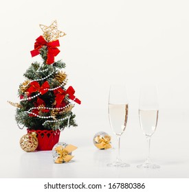 xmas ornaments on bright holiday background with space for text. New Year Celebration.  Christmas background. Happy New Year and Merry Christmas!