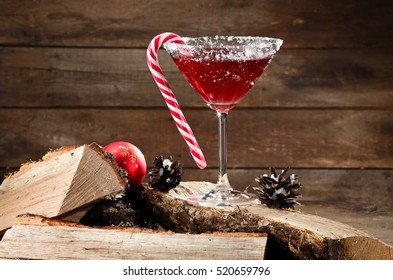 Xmas red martini on firewood