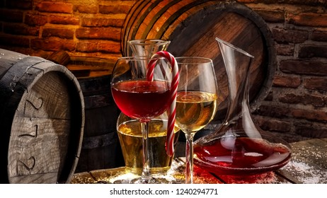 Xmas red and white wine in a winery