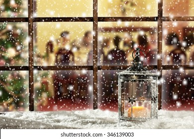 xmas retro window sill with wooden frame and snow decoration