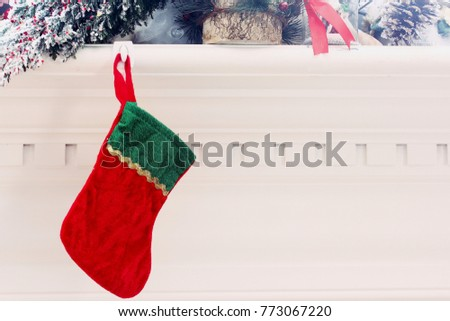 Xmas Stocking Hanging On Fireplace Christmas Stock Photo Edit Now