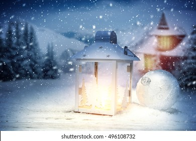 xmas time and lamp of light with night time