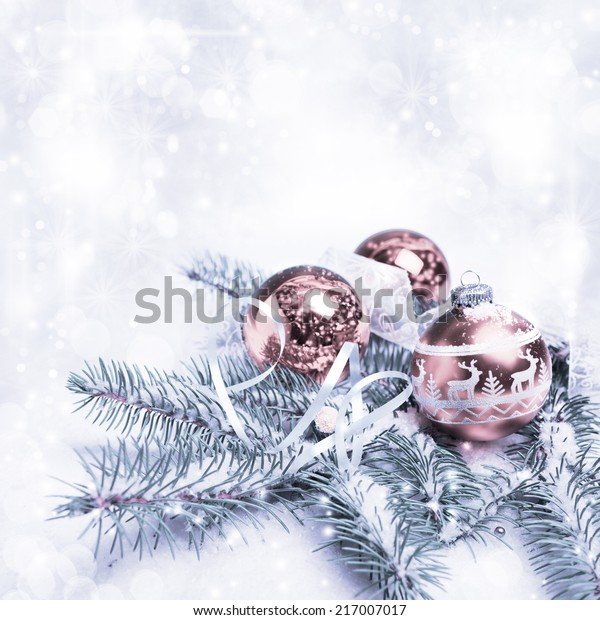 Xmas tree, decorated branches on snow, copy space