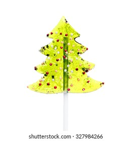 Xmas Tree Lollipop Isolated on White Background