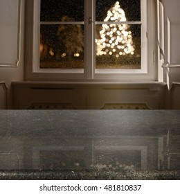 xmas tree and window background with free place for your decoration